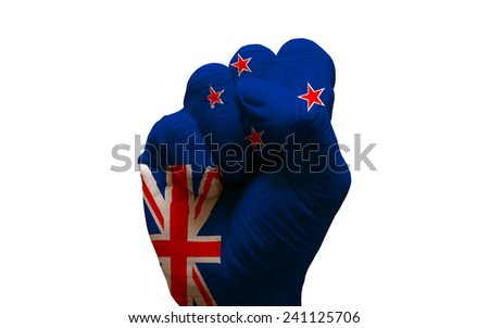 man hand fist painted country flag of new zealand - stock photo