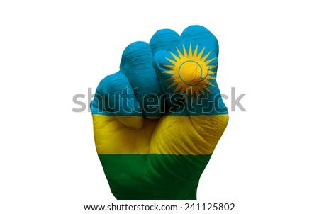 man hand fist painted country flag of rwanda - stock photo