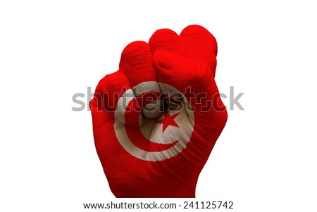 man hand fist painted country flag of tunisia
