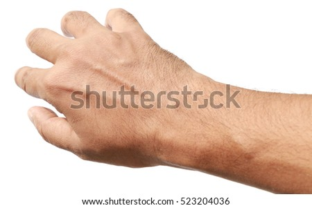 man hand gesture isolated on white