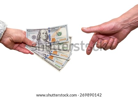 man hand give woman  hand us dollar for business.  sell and buy - stock photo