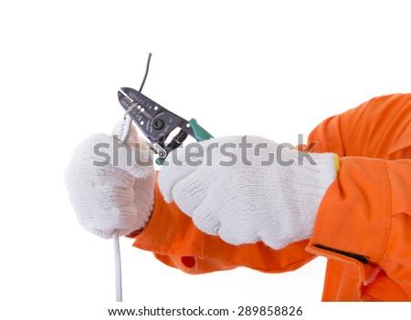 Man hand hold cutter ready to cut electrical wire or cable. Isolated white background - stock photo