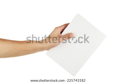 Man hand hold white book isolated on white - stock photo