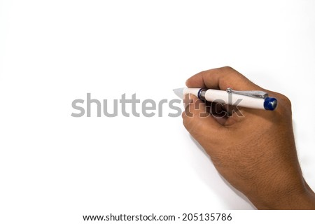 Man hand holding a pen writing on blank paper. - stock photo