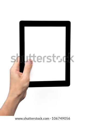 man hand holding a tablet touch computer gadget with isolated screen - stock photo