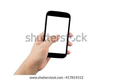 man hand holding black smartphone with blank screen isolated on white background with clipping path - stock photo