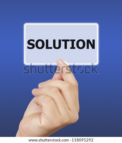 man hand holding button solution keyword, on blue background