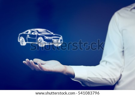 man hand holding car on blue background
