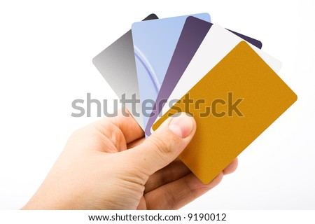 man hand holding credit cards isolated - stock photo