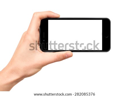 Man hand holding horizontal the black smartphone with blank screen, isolated on white background, similar to iphon 6 - stock photo