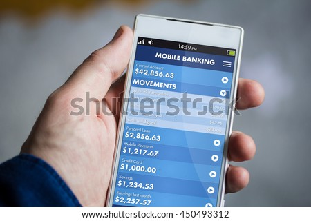 man hand holding mobile banking smartphone. All screen graphics are made up.