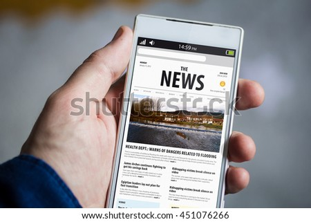 man hand holding news smartphone. All screen graphics are made up. - stock photo