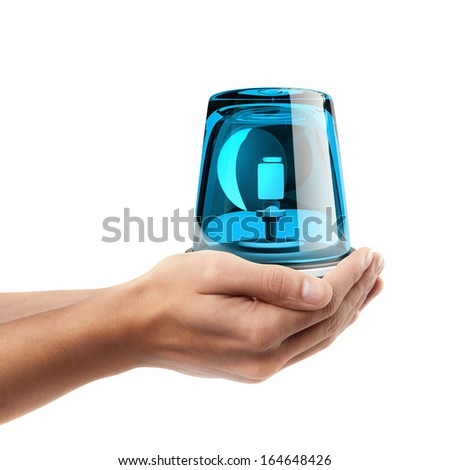 Man hand holding object ( blue siren )  isolated on white background. High resolution  - stock photo