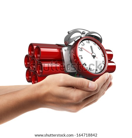 Man hand holding object ( Bomb with clock timer )  isolated on white background. High resolution  - stock photo