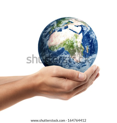 Man hand holding object ( Earth )  isolated on white background. High resolution. including elements furnished by NASA  - stock photo