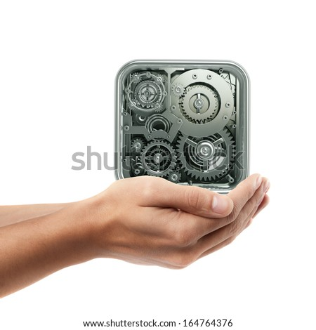 Man hand holding object ( gears box )  isolated on white background. High resolution  - stock photo
