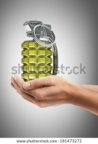 Man hand holding object ( Grenade )  High resolution  - stock photo