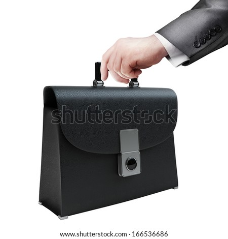 Man hand holding object ( leather briefcase ) isolated on white background. High resolution  - stock photo