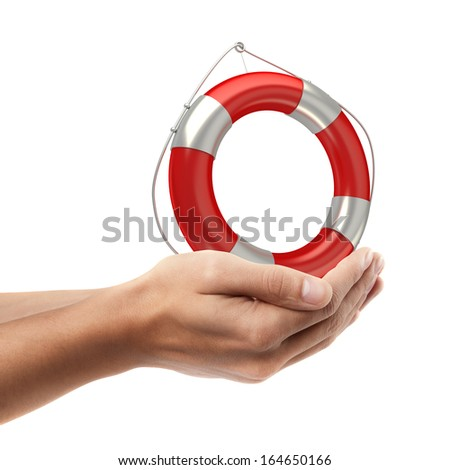 Man hand holding object ( Red lifebelt )  isolated on white background. High resolution   - stock photo