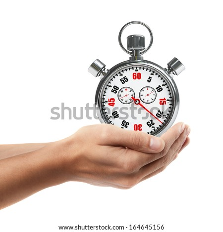 Man hand holding object ( Stopwatch )  isolated on white background. High resolution  - stock photo