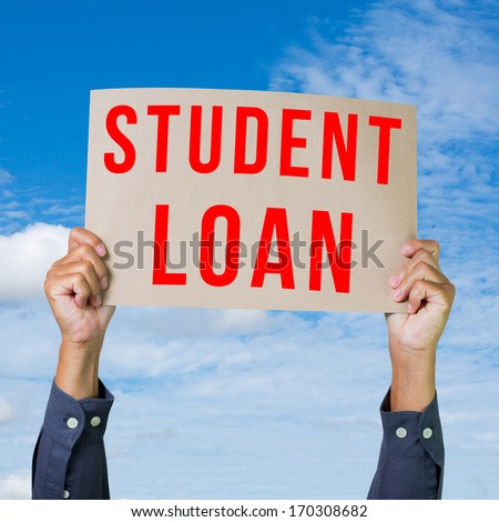 Man hand holding paper with student loan word - stock photo