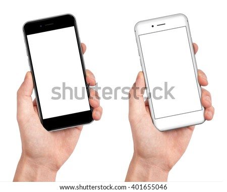 Man hand holding the black and white smartphone with blank screen in little angled position  - isolaten on white background - stock photo