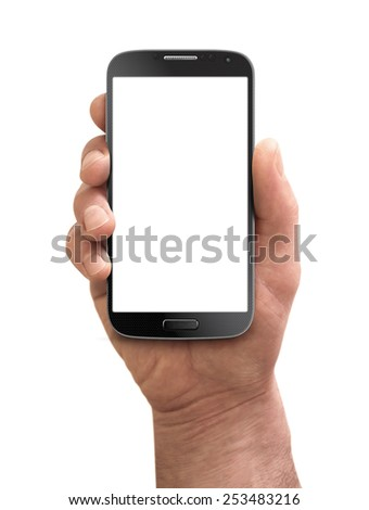 Man hand holding the black smartphone - stock photo