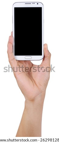 man hand holding the phone tablet isolated on white background - stock photo