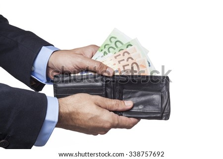 Man Hand in Suit Holding Wallet Euro Banknotes Isolated on White Background