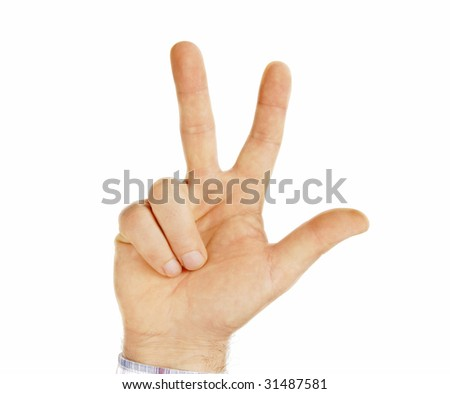 man hand isolated showing sign three fingers - stock photo