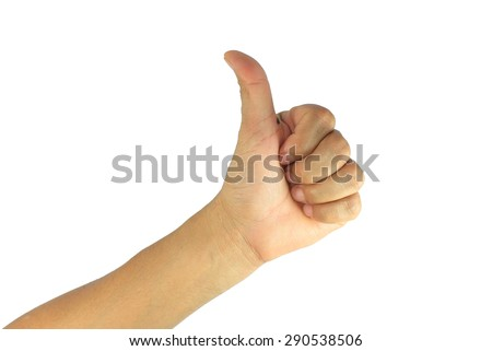 man hand making sign GOOD. on white background