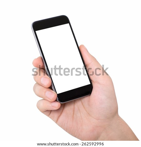 man hand on a white background holding a phone with isolated screen - stock photo