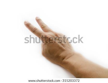 man hand 2 on white background - stock photo