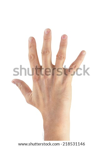 Man hand palm isolated on white background - stock photo