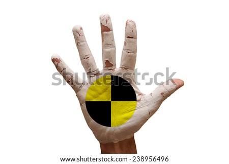 man hand palm painted crash test dummies symbol - stock photo