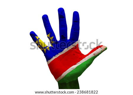 man hand palm painted flag of namibia
