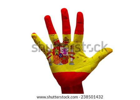 man hand palm painted flag of spain