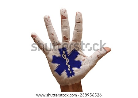 man hand palm painted life star symbol - stock photo