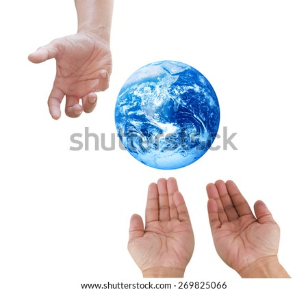 Man hand palm up with global image as design element over white Elements of this image furnished by NASA - stock photo