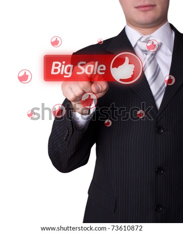 Man hand pressing BIG SALE button - stock photo