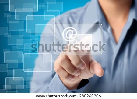 Man hand pressing modern social buttons - stock photo