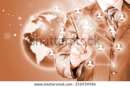 man hand pressing social media icon