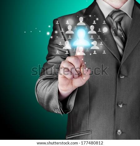 Man hand pressing social network button - stock photo