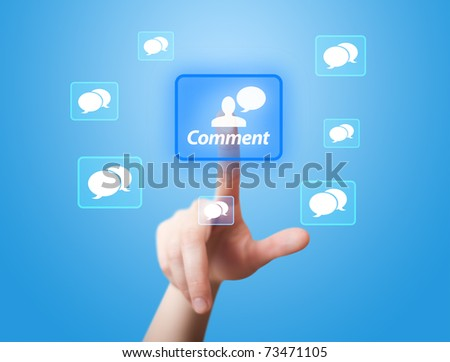 man hand pressing Social Network icon 2 - stock photo