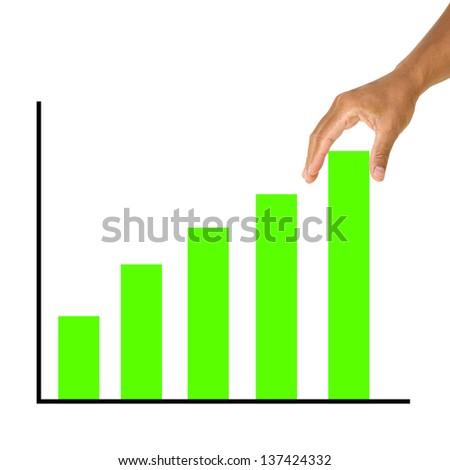 Man hand pulling up bar graph - stock photo