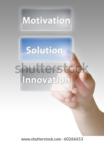 Man hand push on solution, innovation, motivation button's