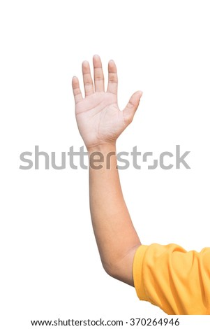 man hand raised up lifted up in the air on white background. - stock photo