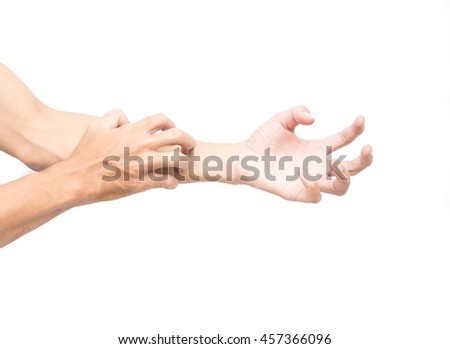 Man hand scratching arm on white background for healthy concept