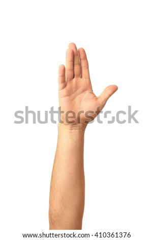 Man hand showing the five fingers isolated on a white background - stock photo
