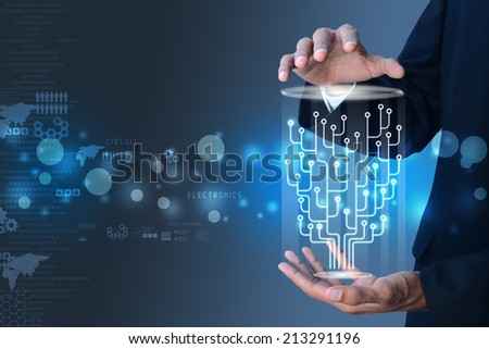 Man hand showing the futuristic technology - stock photo
